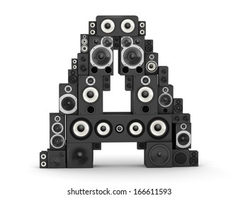 Letter A from black hi-fi speakers sound systems