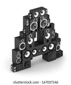 Letter A from black hi-fi speakers sound systems  in isometry