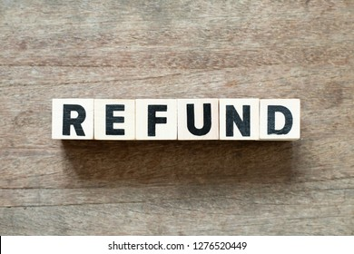 Letter block in word refund on wood background