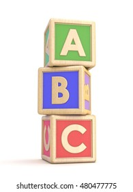 Letter blocks A, B and C vertical arranged. 3D render illustration isolated on white background
