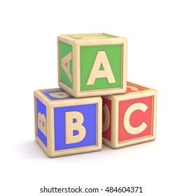 Letter blocks ABC. 3D render illustration isolated on white background