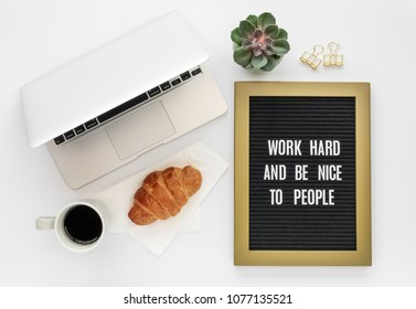 Letter Board Quote, Laptop Computer on White Background with Mini Succulent Plant, Coffee, Fresh Croissant Pastry