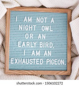 """Letter board reading, """"I am not a night owl or an early bird. I am an exhausted pigeon."""""""