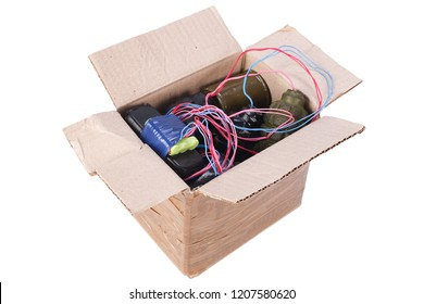 Letter bomb IED - Improvised Explosive Device in mailbox isolated on white