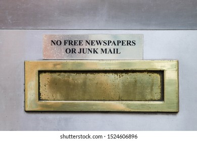 Letter box with notice, No free newspaper or junk mail