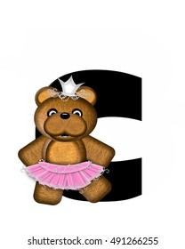"""The letter C, in the alphabet set """"Ballerina Princess"""" is bright black.  Letter is decorated brown bear wearing a pink tutu and jeweled crown."""