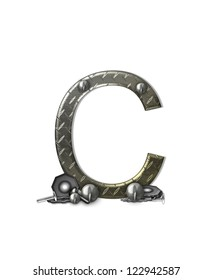 """The letter C, in the alphabet set """"Metal Shop"""", is a chrome colored letter with etched texture.  Letter is decorated with nuts, bolts and screws.  Top of letter has rivets."""
