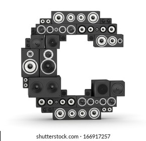 Letter C from black hi-fi speakers sound systems