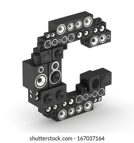Letter C from black hi-fi speakers sound systems  in isometry