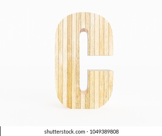Letter C made with wood on white background. 3d Rendering.