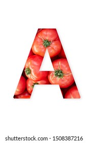 Letter A of Capital letters alphabet. Single letter Made of tomatoes. Vegetable Alphabet.
