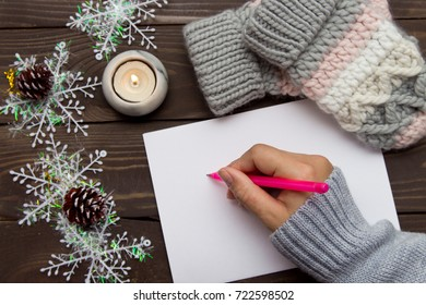 A letter of congratulation with Christmas. Wish list. Christmas background. Letter to Santa Claus.