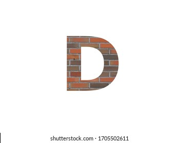 Letter D of the alphabet with wall of bricks