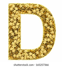 Letter D composed of golden stars isolated on white. High resolution 3D image
