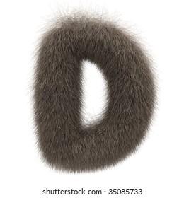 Letter D from fur alphabet