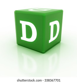The letter D on the cube. Multicolored alphabet on cubes.