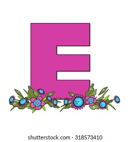 """The letter E, in the alphabet set """"Country Lane Two"""" is pink with black outline.  Letter sits on arrangement of country flowers in pink and blue."""