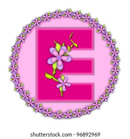 The letter E, in the alphabet set Daisy Chain, is soft pink.  Letter sits on round circle outlined with a circle of daisies.  Letters are also decorated with climbing vines and flowers.