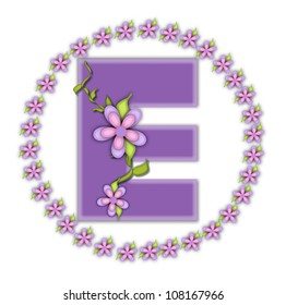 The letter E, in the alphabet set Petite Ring of Petals, is soft lilac and surrounded by a circle of daisies.  Climbing vines and flowers cling to lilac letter on a white background.