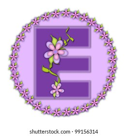 The letter E, in the alphabet set Petite Floral, is soft lilac.  Climbing vines and flowers cling to lilac letter.