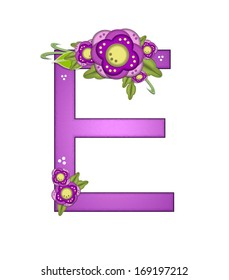 """The letter E, in the alphabet set """"Purple Petunia"""" is soft purple and decorated with flower clusters and green leaves."""
