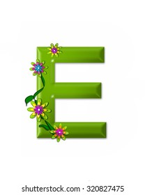 """The letter E, in the alphabet set """"Wonderland"""" is 3d and colored green.  Letter is decorated with 3d flowers and vines."""