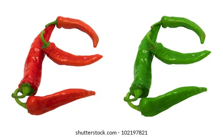 Letter E composed of green and red chili peppers. Isolated on white background