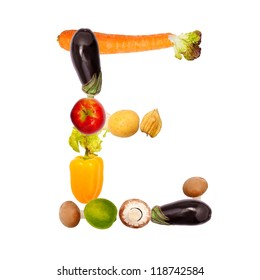 The letter e, composite with various fruits and vegetables, complete font available