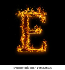 Letter E. Fire flames on black isolated background, realistick fire effect with sparks. Part of alphabet set