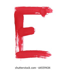 Letter E handwritten paint stroke sketch. Red Isolated on white background. One from collection set.