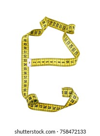 Letter E isolated on white background. Yellow measuring tape texture. Diet concept.