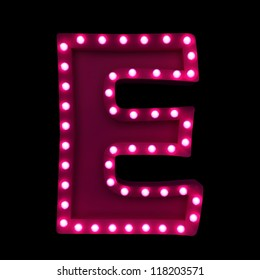 letter E with neon lights isolated on black background