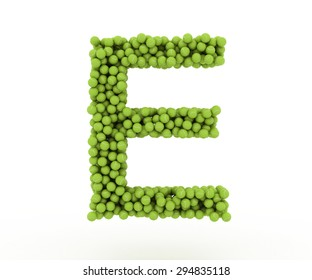 The letter E tennis balls on a white background.