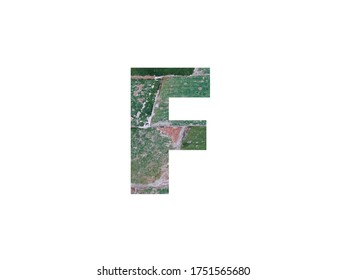 Letter F of the alphabet with green tiles