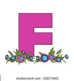"""The letter F, in the alphabet set """"Country Lane Two"""" is pink with black outline.  Letter sits on arrangement of country flowers in pink and blue."""