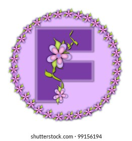 The letter F, in the alphabet set Petite Floral, is soft lilac.  Climbing vines and flowers cling to lilac letter.