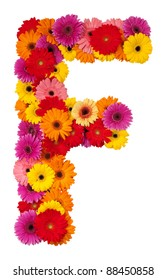 Letter F - flower alphabet isolated on white background