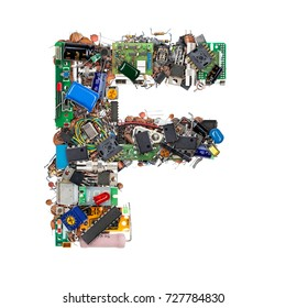 Letter F made of electronic components isolated on white background
