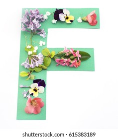 Letter F Made of Spring Flowers and Paper, on White Background.