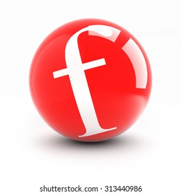Letter f on a bright red balls with reflections isolated on white.