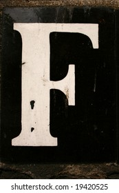 The letter F from street sign Hampstead London England UK