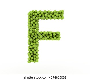 The letter F tennis balls on a white background.