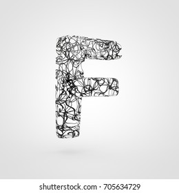 Letter F uppercase created on a 3D printer. 3D render font made of black filaments. isolated on white background.