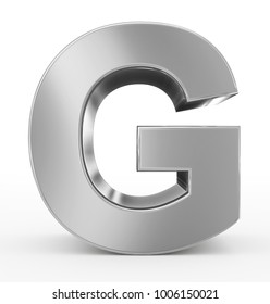letter G 3d silver isolated on white