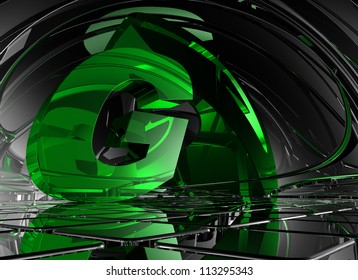 letter g in abstract futuristic space - 3d illustration