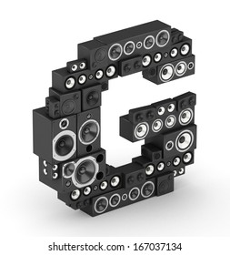 Letter G from black hi-fi speakers sound systems  in isometry