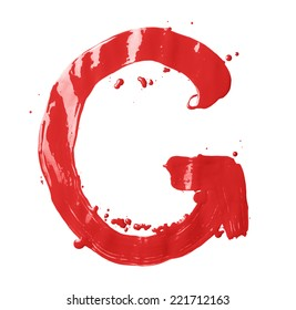 Letter G character hand drawn with the oil paint brush strokes, isolated over the white background