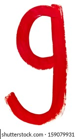 letter g hand painted by red brush on white background