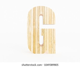 Letter G made with wood on white background. 3d Rendering.