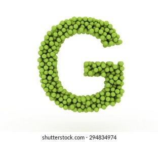 The letter G tennis balls on a white background.